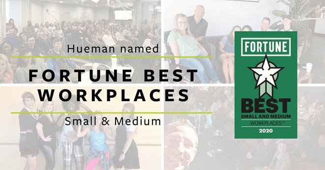 Fortune Best Workplaces Small & Medium over pictures of Hueman employees