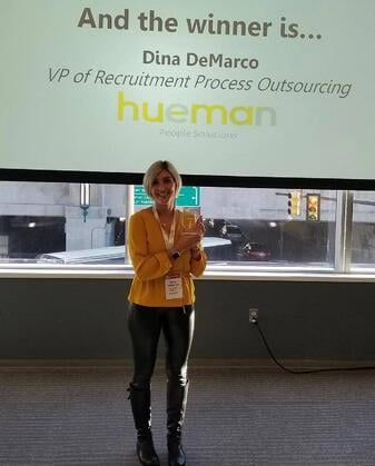 Vice President of RPO, Dina DeMarco won the annual 'Rising Star' award and Hueman was named a finalist for 'Recruitment Team of the Year.'