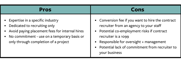 Contract Recruiters Pros and Cons Chart