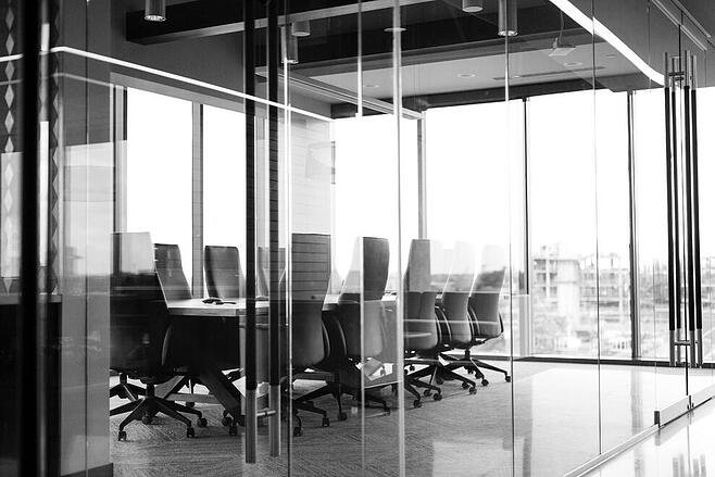 Black and White photo of an empty office