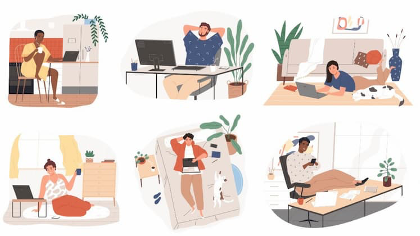 Graphics of people relaxing while working from home